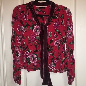 Zara Trafaluc collection floral blouse xs